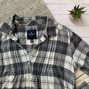 American Eagle Outfitters Plaid Popover Tunic Sz M